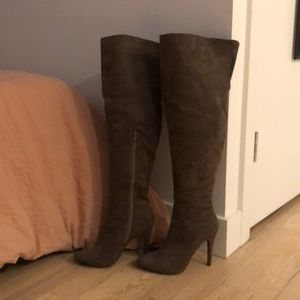 Suede Knee High Heeled Boots